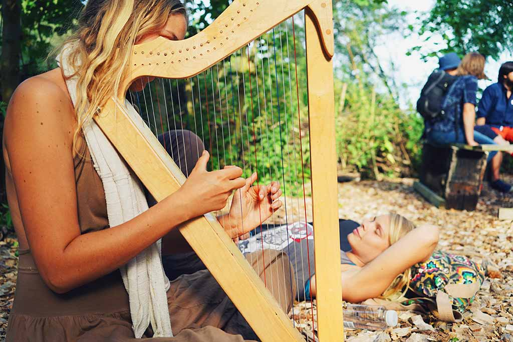 girls playing harp at the Roggebotstaete event